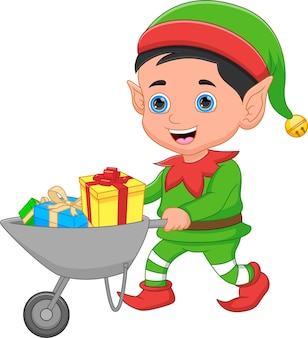 Desenho animado feliz elfo traz presentes