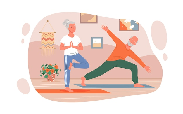 Desenho animado feliz homem mulher personagens sênior fazendo exercício em casa