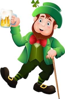 Desenho animado feliz leprechaun segurando cerveja