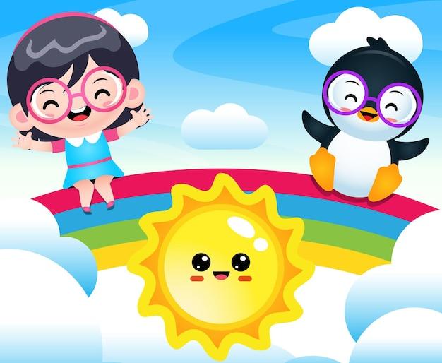 Desenho animado feliz linda garota e pinguim sentado no arco-íris