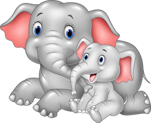 Desenho animado feliz mãe e bebê elefante
