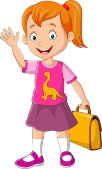 Desenho animado feliz menina da escola segurando bolsa