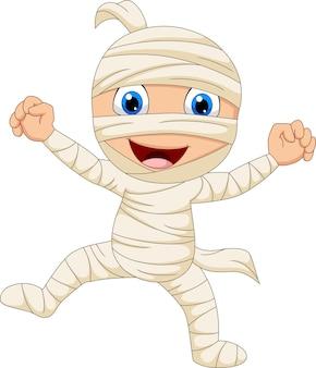 Desenho animado feliz múmia isolada no fundo branco