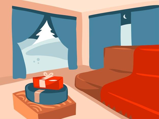 Desenho animado feliz natal e feliz ano novo ilustrações festivas