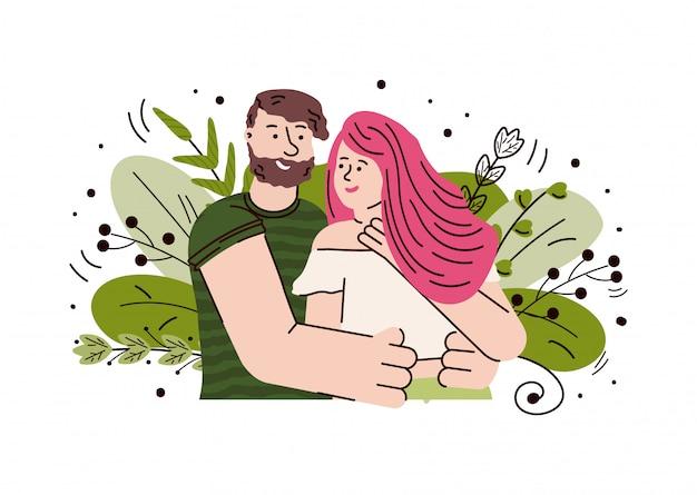Desenho animado feliz no amor, abraçando e olhando um ao outro