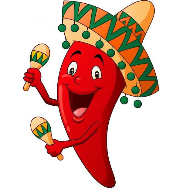 Desenho animado feliz pimentão tocando maracas