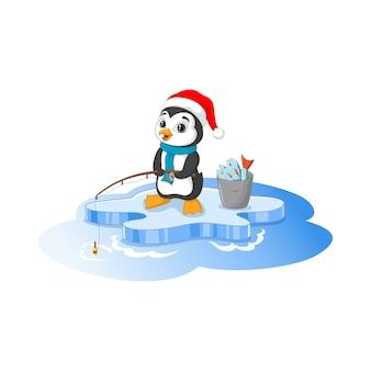 Desenho animado feliz pinguim pescando no bloco de gelo
