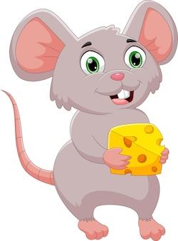 Desenho animado feliz rato segurando queijo