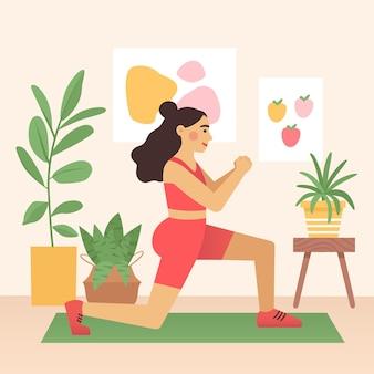 Desenho animado feminino está treinando fazendo exercícios de estocada em casa