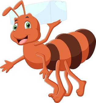Desenho animado fofa formiga carregando açúcar branco