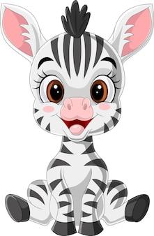 Desenho animado fofinho zebra sentado
