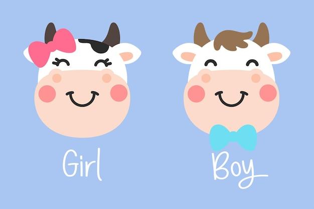 Desenho animado fofo cara de vaca macho e fêmea