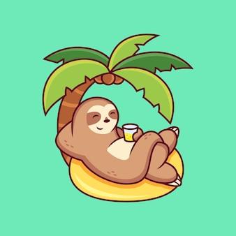 Desenho animado fofo da preguiça relaxando no verão