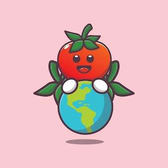Desenho animado fofo tomate abraçando a terra