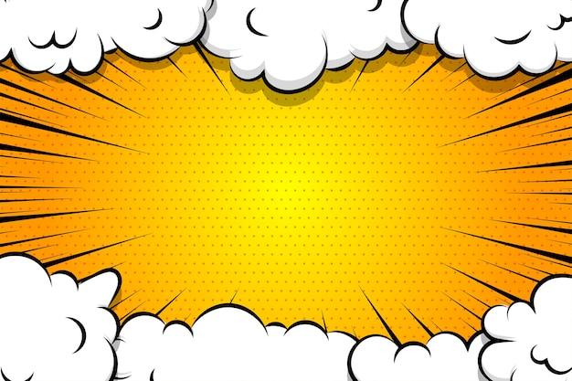 Desenho animado fundo radial amarelo nuvem de sopro para texto