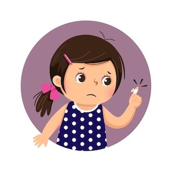 Desenho animado garota triste olhando para o dedo com uma bandagem adesiva
