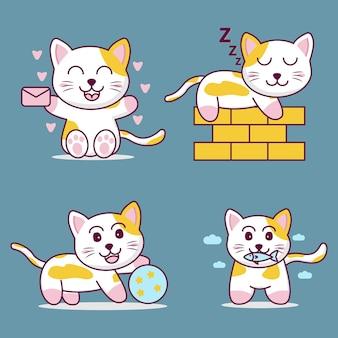 Desenho animado gato fofo