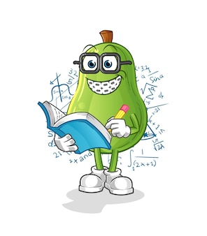 Desenho animado geek de abacate. vetor mascote dos desenhos animados