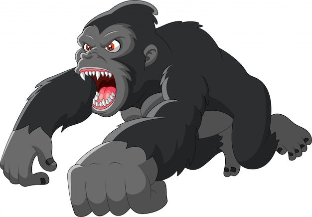 Desenho animado grande gorila estava com raiva