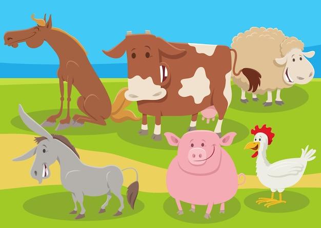 Desenho animado grupo de animais de fazenda no campo