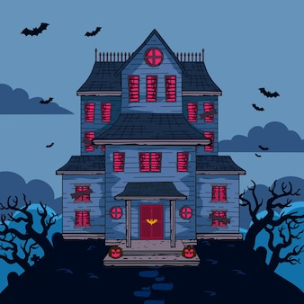 Desenho animado halloween casa
