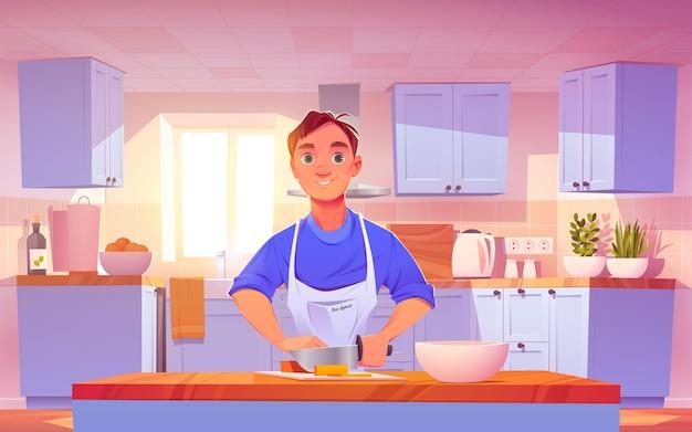 Desenho animado homem cozinhando ilustração