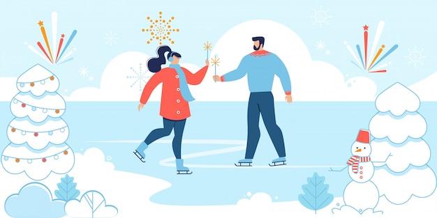 Desenho animado homem e mulher apaixonada patinando na pista