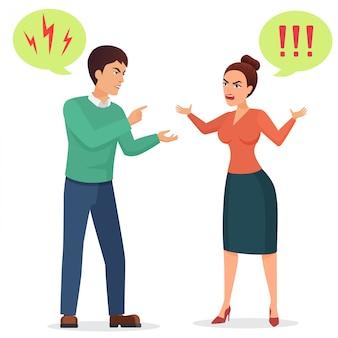 Desenho animado homem e mulher brigando. ilustração de briga de casal com raiva.