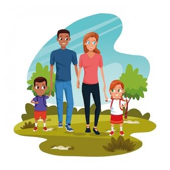 Desenho animado homem e mulher com crianças no parque