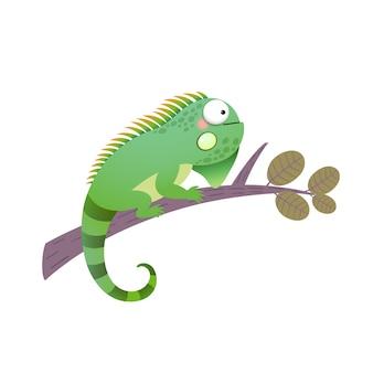 Desenho animado iguana verde em um galho