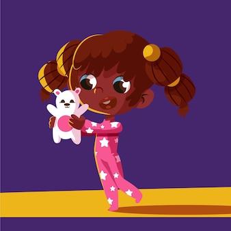 Desenho animado ilustração de menina negra com ursinho de pelúcia