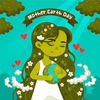 Desenho animado ilustração do dia da mãe terra
