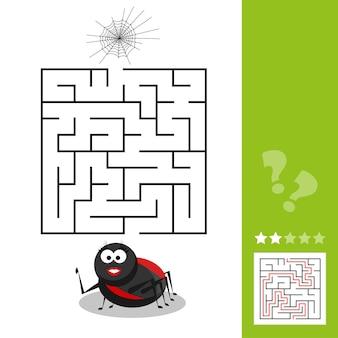 Desenho animado ilustração em vetor de labirinto educacional ou jogo de atividade de labirinto para crianças com o personagem inseto aranha e sua teia