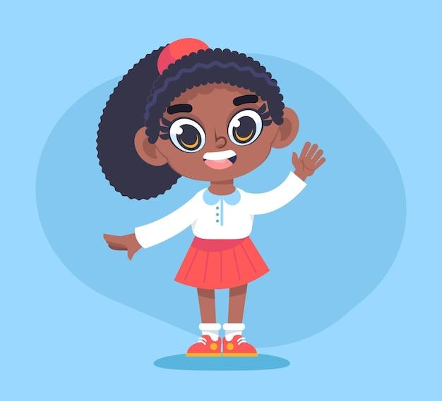 Desenho animado ilustração linda garota afro-americana
