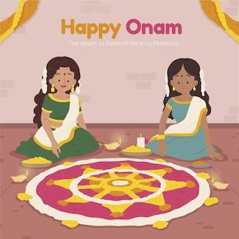 Desenho animado ilustração onam indiana
