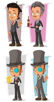 Desenho animado inteligente em personagem de terno
