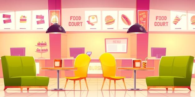 Desenho animado interior da praça de alimentação