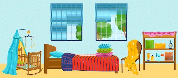 Desenho animado interior de quarto de apartamento em casa com decoração têxtil