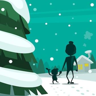 Desenho animado inverno pai e criança adorável momento ilustração