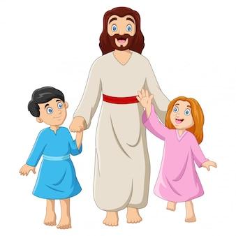 Desenho animado jesus christus com crianças