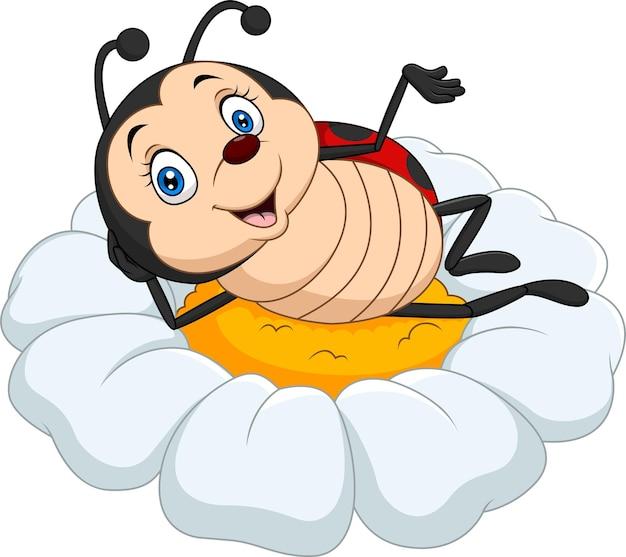 Desenho animado joaninha engraçada na flor da margarida
