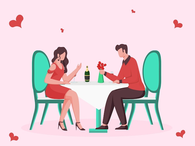 Desenho animado jovem casal namorando em restaurante em fundo rosa