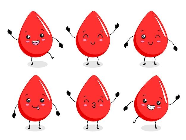 Desenho animado kawaii de sangue