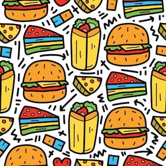 Desenho animado kawaii desenhado à mão desenho padrão de doodle de comida