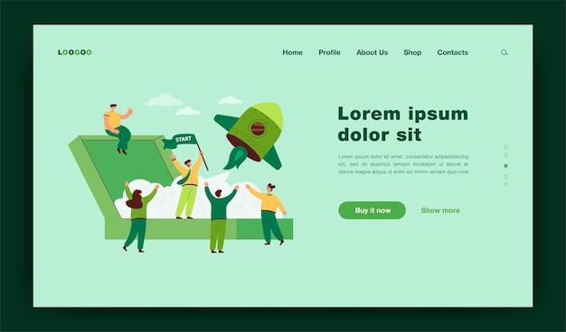 Desenho animado, lançamento de ilustração plana de novo projeto de negócios. equipe de pessoas fazendo startup com nave espacial, desenvolvendo ideia criativa juntos página de destino