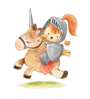 Desenho animado leão cavaleiro em ilustração de cavalo de guerra