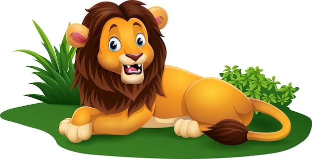 Desenho animado leão sentado feliz na grama