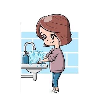 Desenho animado linda garota lava a mão