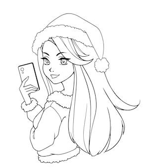 Desenho animado linda garota tirando foto de selfie