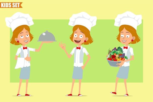 Desenho animado liso engraçado chef cozinheiro menina personagem em uniforme branco e chapéu de padeiro. criança carregando uma panela de metal com legumes frescos e bandeja.